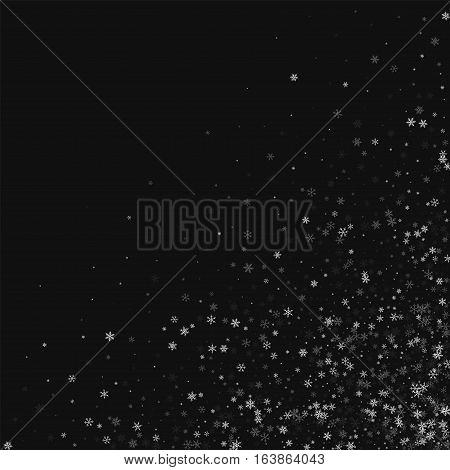 Beautiful Snowfall. Scattered Bottom Right Corner On Black Background. Vector Illustration.