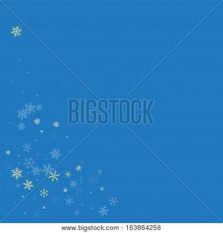 Sparse Snowfall. Bottom Left Corner On Blue Background. Vector Illustration.