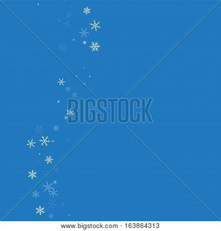 Sparse Snowfall. Left Wave On Blue Background. Vector Illustration.