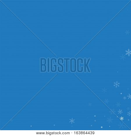 Sparse Snowfall. Abstract Right Bottom Corner On Blue Background. Vector Illustration.