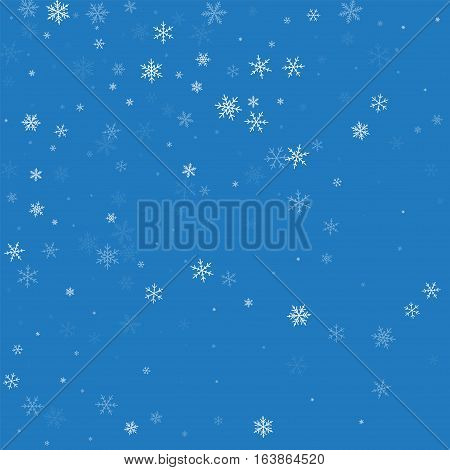 Sparse Snowfall. Abstract Scatter On Blue Background. Vector Illustration.