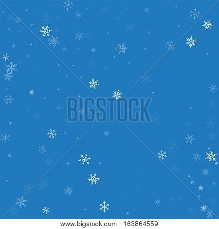 Sparse Snowfall. Scatter Pattern On Blue Background. Vector Illustration.
