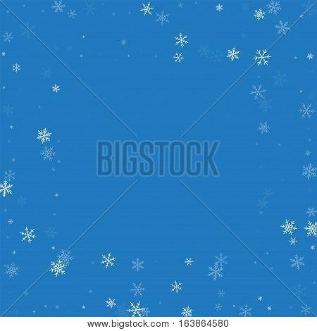 Sparse Snowfall. Square Scattered Frame On Blue Background. Vector Illustration.