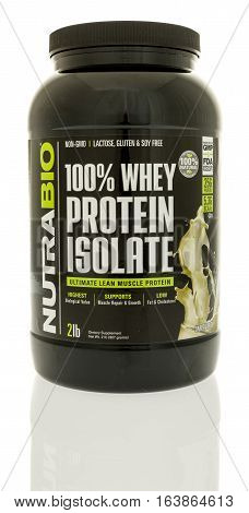 Winneconne WI - 1 January 2017: Container of Nutrabio whey protein powder on an isolated background.