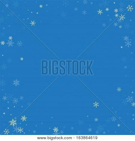 Sparse Snowfall. Bordered Frame On Blue Background. Vector Illustration.