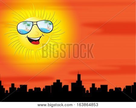 Sun In The City Showing Hot Cityscape