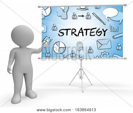 Strategy Icons Indicates Innovation Sign 3D Illustration