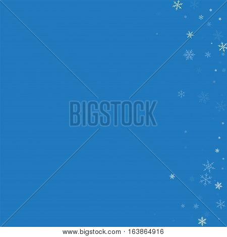 Sparse Snowfall. Abstract Right Border On Blue Background. Vector Illustration.