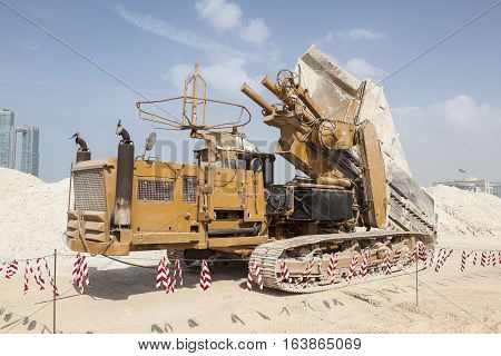 Machinery on a construction site in Abu Dhabi United Arab Emirates