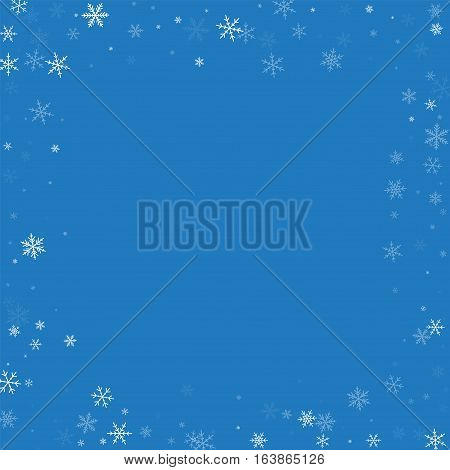 Sparse Snowfall. Chaotic Border On Blue Background. Vector Illustration.