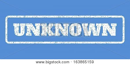White rubber seal stamp with Unknown text. Vector tag inside rounded rectangular banner. Grunge design and scratched texture for watermark labels. Horisontal emblem on a blue background.