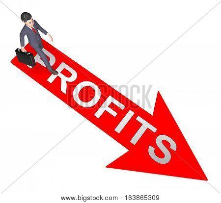 Profit Arrow Shows Growth Earnings 3D Rendering