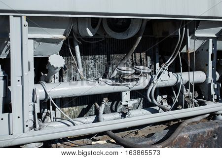 radiator in a truck, machine parts, radiator close-up