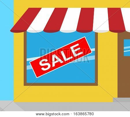 Sale Sign Represents Bargain Offers 3D Illustration