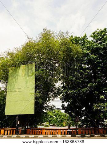 A green blank billboard and big tree photo taken in Semarang Indonesia java