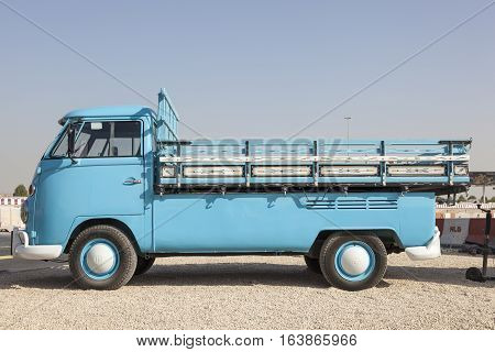 DUBAI UAE - NOV 27 2016: Historic Volkswagen T1 pickup truck at the Last Exit food trucks park in Dubai United Arab Emirates
