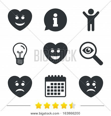 Heart smile face icons. Happy, sad, cry signs. Happy smiley chat symbol. Sadness depression and crying signs. Information, light bulb and calendar icons. Investigate magnifier. Vector