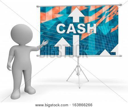Cash Graph Means Wealth Prosperity 3D Rendering