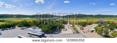 Paju Korea - September 13 2016: Landscape of Imjin river view from Observation building in Imjingak park. The park has many statues and mouments regarding the Korean War.
