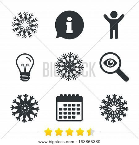 Snowflakes artistic icons. Air conditioning signs. Christmas and New year winter symbols. Frozen weather. Information, light bulb and calendar icons. Investigate magnifier. Vector