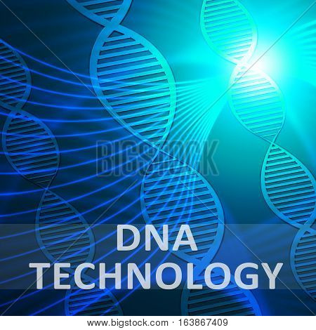 Dna Technology Showing Genetic Tech 3D Illustration