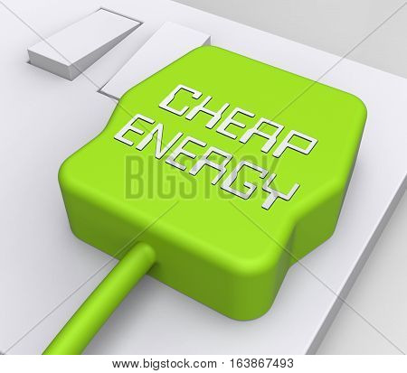 Cheap Energy Plug Shows Discount Electric 3D Rendering