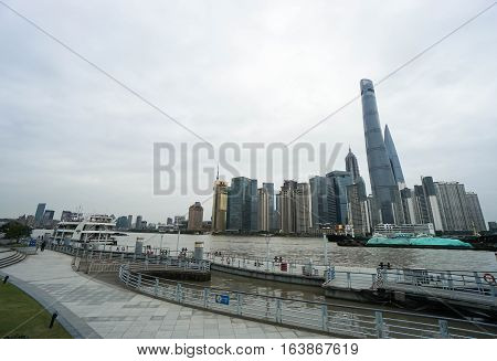 along riverside opposite the Oriental Pearl Tower taken in Shanghai on 17 November 2016