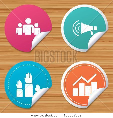 Round stickers or website banners. Strike group of people icon. Megaphone loudspeaker sign. Election or voting symbol. Hands raised up. Circle badges with bended corner. Vector