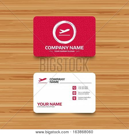 Business card template with texture. Plane takeoff icon. Airplane transport symbol. Phone, web and location icons. Visiting card  Vector