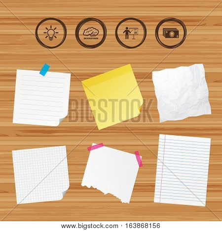 Business paper banners with notes. Presentation billboard, brainstorm icons. Cash money and lamp idea signs. Man standing with pointer. Scheme and Diagram symbol. Sticky colorful tape. Vector