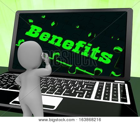 Benefits On Laptop Showing Compensations 3D Rendering