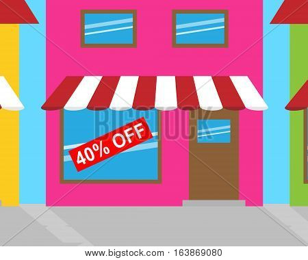 Forty Percent Off Meaning 40% Discount 3D Illustration