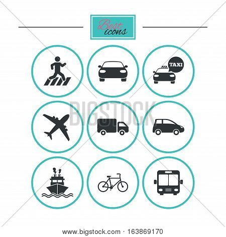 Transport icons. Car, bike, bus and taxi signs. Shipping delivery, pedestrian crossing symbols. Round flat buttons with icons. Vector