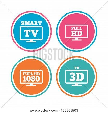 Smart TV mode icon. Widescreen symbol. Full hd 1080p resolution. 3D Television sign. Colored circle buttons. Vector