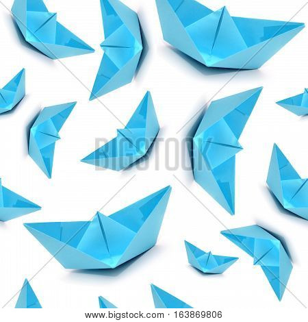 Seamless pattern with blue boats, origami boats, seamless origami.