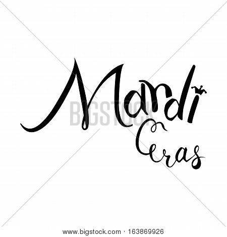 Mardi Gras text Lettering with jester hat