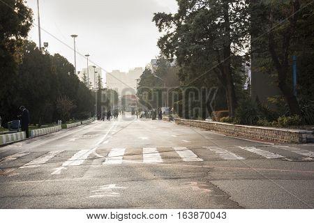 Tehran IRAN - December 28 2016 Vast View of Tehran International Permanent Fairground Street.