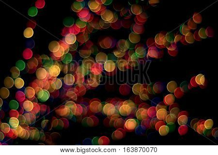 Bokeh lens effect of multi colored lights
