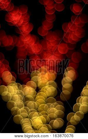Bokeh lens effect of red and yellow lights