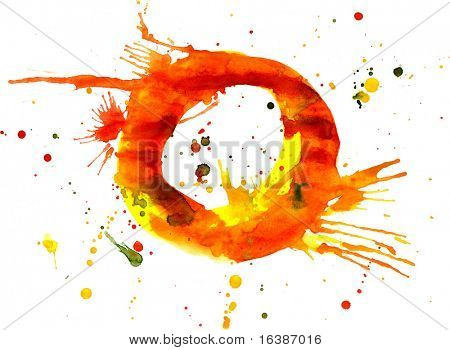 watercolor paint - letter O