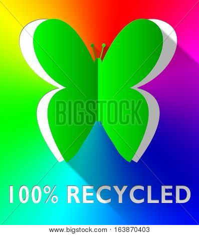 Hundred Percent Recycled Butterfly Green 3D Illustration