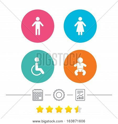 WC toilet icons. Human male or female signs. Baby infant or toddler. Disabled handicapped invalid symbol. Calendar, cogwheel and report linear icons. Star vote ranking. Vector