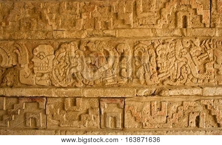 Relief In Tula, Mesoamerican Archaeological Site. Mexico