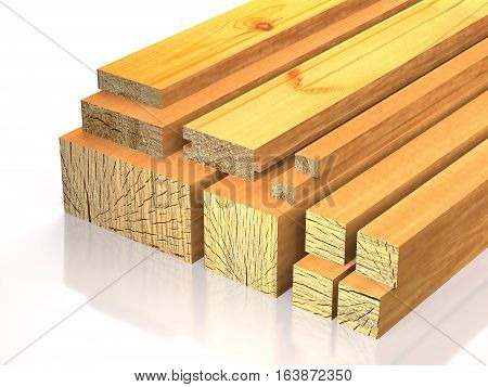 Lumber lie on the wood stock on white background (3d illustration).