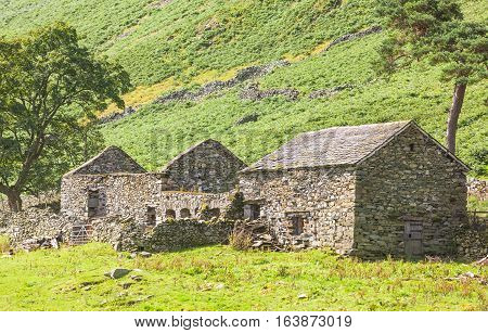 An abandoned farm homestead in the valley of Martindale in Cumbria in the English Lake District.