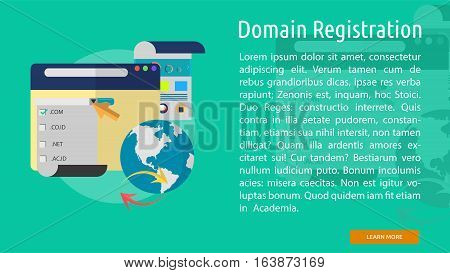 Domain Registration Conceptual Banner | Great flat icons with style long shadow icon and use for web, development, concept, marketing and much more.