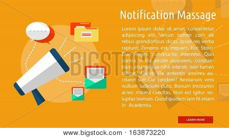Notification Massage Conceptual Banner | Great flat icons with style long shadow icon and use for web, development, concept, marketing and much more.