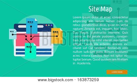 Site Map Conceptual Banner | Great flat icons with style long shadow icon and use for web, development, concept, marketing and much more.