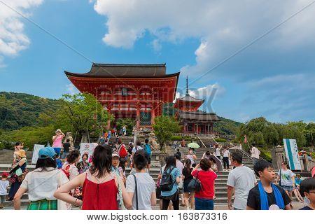 Tourist At Kiyomizu-dera Temple In Kyoto Japan.