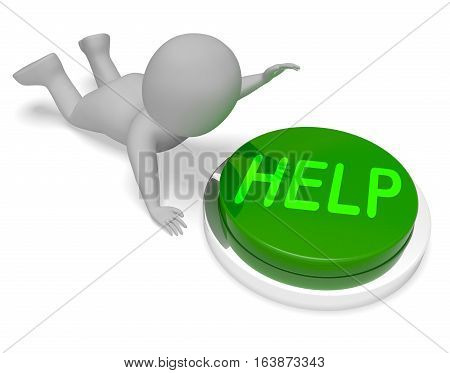 Help Button Means Online Advice 3D Rendering